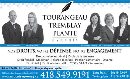 tourangeau tremblay plante avocats 138 rue racine e. Black Bedroom Furniture Sets. Home Design Ideas