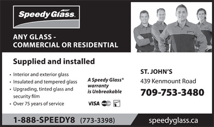Speedy Glass (709-753-3480) - Display Ad
