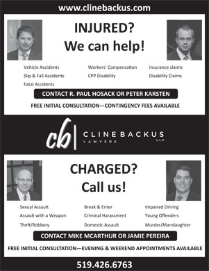 Cline Backus LLP (519-426-6763) - Display Ad