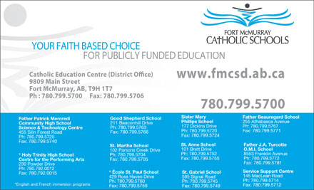 Fort McMurray Catholic Board Of Education (780-799-5703) - Display Ad