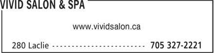Vivid Salon & Spa (705-327-2221) - Display Ad - www.vividsalon.ca www.vividsalon.ca
