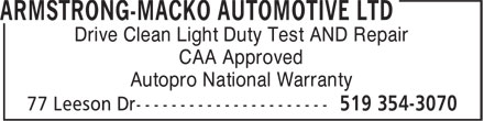 NAPA Autopro (519-354-3070) - Annonce illustrée - Drive Clean Light Duty Test AND Repair CAA Approved Autopro National Warranty