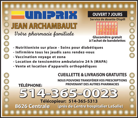 Uniprix Jean Archambault (Affiliated Pharmacy) (514-365-0023) - Display Ad