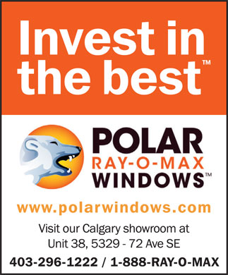 Polar Ray-O-Max Windows Canada (403-296-1222) - Display Ad