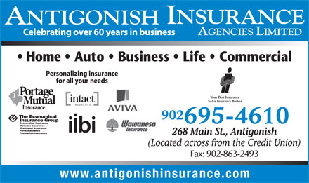 Antigonish Insurance Agencies Ltd (1-888-986-0321) - Display Ad - Celebrating over 60 years in business Personalizing insurance for all your needs Fax: 902-863-2493