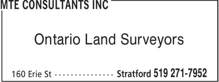 MTE Consultants Inc (519-271-7952) - Annonce illustrée - Ontario Land Surveyors Ontario Land Surveyors