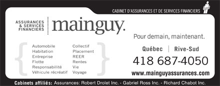 Assurances Mainguy et Services Financiers (418-687-4050) - Display Ad - 418 687-4050 www.mainguyassurances.com 418 687-4050 www.mainguyassurances.com