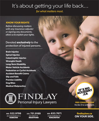 Findlay Personal Injury Lawyers (289-975-4739) - Annonce illustrée