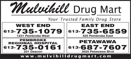 Mulvihill Drug Mart (613-735-1079) - Annonce illustrée - Mulvihill Your Trusted Family Drug Store WEST END 613- 735-1079 735-6559 1231 Pembroke West 425 Pembroke East PEMBROKE PETAWAWA REGIONAL HOSPITAL 613-613- 687-7607735-0161 3025 Petawawa Blvd201 Deacon www.mulvihilldrugmart.com EAST END