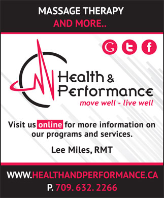 Health & Performance Centre Inc (709-632-2266) - Annonce illustrée