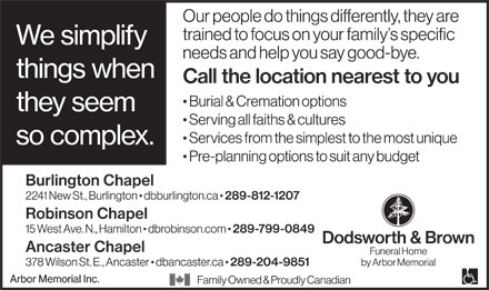 Dodsworth & Brown Funeral Home (289-799-0849) - Annonce illustrée