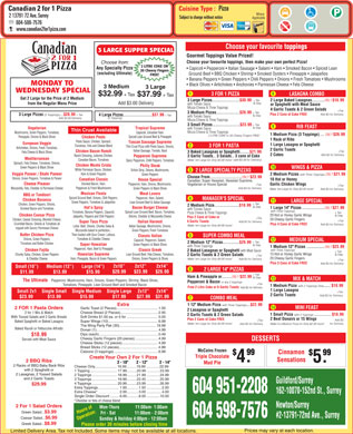 Canadian 2 for 1 Pizza (604-598-2021) - Menu