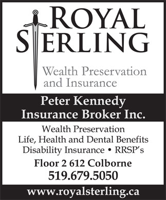 Peter Kennedy Insurance Brokers Inc o/a Royal Sterling Wealth Preservation & Insurance (519-679-5050) - Annonce illustrée - Floor 2 612 Colborne