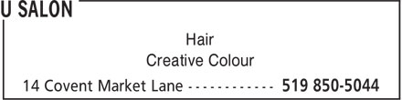 U Salon (519-850-5044) - Annonce illustrée - Hair Creative Colour Hair Creative Colour