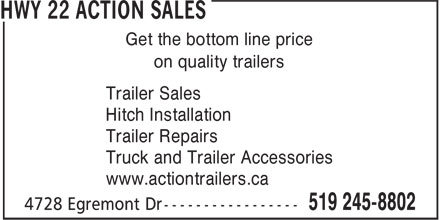 Action Trailer Sales (519-245-8802) - Display Ad - Hitch Installation Trailer Repairs Truck and Trailer Accessories Trailer Sales www.actiontrailers.ca Get the bottom line price on quality trailers