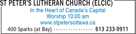 St Peter's Lutheran Church (ELCIC) (613-233-9911) - Annonce illustrée - In the Heart of Canada's Capital Worship 10:00 am www.stpetersottawa.ca