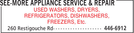 See-More Appliance Service & Repair (506-446-6912) - Annonce illustrée - USED WASHERS, DRYERS, REFRIGERATORS, DISHWASHERS, FREEZERS, Etc.