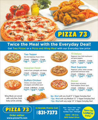Pizza 73 (780-831-7373) - Display Ad