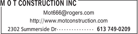M O T Construction Inc (613-749-0209) - Annonce illustrée - http://www.motconstruction.com