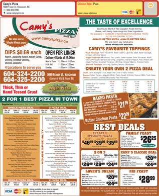 Camy's Pizza (604-324-2200) - Menu
