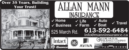 Allan Mann Insurance (613-604-0840) - Annonce illustrée - Over 35 Years, Building Your Trust! Farm Over 35 Years, Building Your Trust! Farm Over 35 Years, Building Your Trust! Farm Over 35 Years, Building Your Trust! Farm