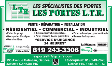 Portes L T R (Les) (819-412-1179) - Display Ad