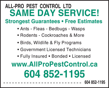 All-Pro Pest Control (604-852-1195) - Display Ad - ALL-PRO  PEST  CONTROL  LTD SAME DAY SERVICE! Strongest Guarantees   Free Estimates Ants - Fleas - Bedbugs - Wasps Rodents - Cockroaches & More Birds, Wildlife & Fly Programs Government Licensed Technicians Fully Insured   Bonded   Licensed www.AllProPestControl.ca 604 852-1195 --------------------------- 604 852-1195