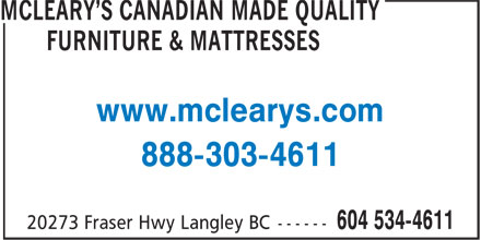 McLeary's Canadian Made Quality Furniture & Mattresses (1-888-303-4611) - Annonce illustrée - www.mclearys.com 888-303-4611