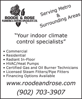 Roode & Rose Plumbing & Heating Specialists Ltd (902-705-3250) - Display Ad - ROODE & ROSE PLUMBING & HEATING SPECIALISTS LTD.