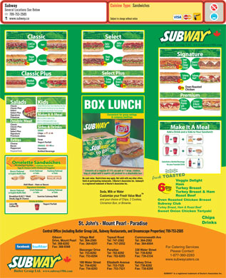 Subway (709-754-8292) - Display Ad - For Catering Services Please Contact: 1-877-360-2283 www.subwaycaters.ca www.subway.com For Catering Services Please Contact: 1-877-360-2283 www.subwaycaters.ca www.subway.com